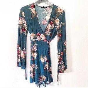 OLIVACEOUS | Floral Wrap Dress
